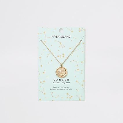 Cancer zodiac sign gold colour necklace