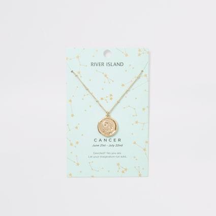 Cancer zodiac sign gold colour necklace