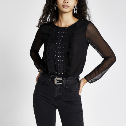 Black long sheer sleeve frill front bodysuit