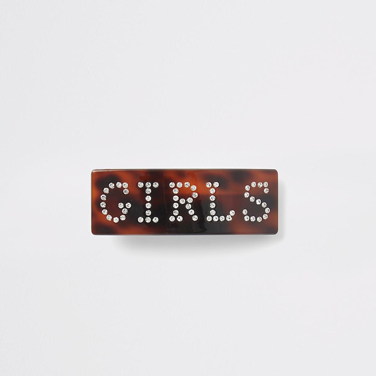 Brown 'Girls' rhinestone hair clip