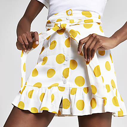 White spot print mini skirt