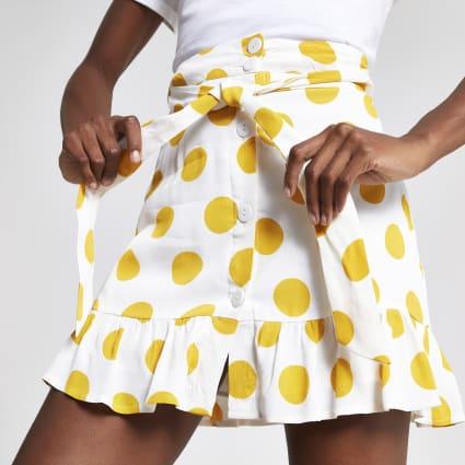 White spot print mini skirt