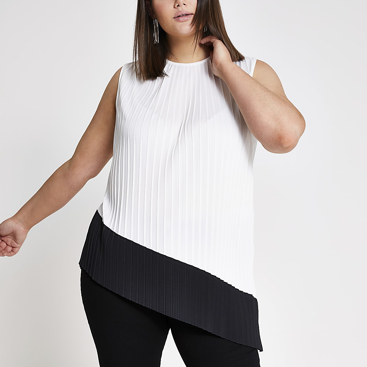 Plus white pleated tank top