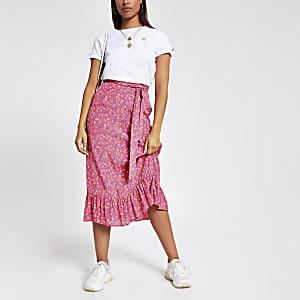 Pink floral print frill hem midi skirt