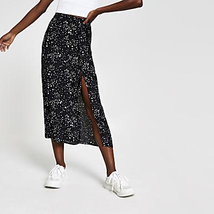 Black elasticated waist print midi skirt