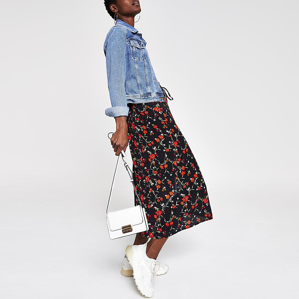 Red elasticated waist floral midi skirt