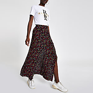 Black floral print split maxi skirt