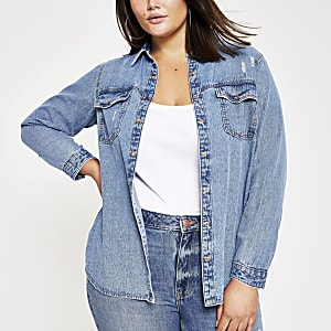 Plus blue denim shirt