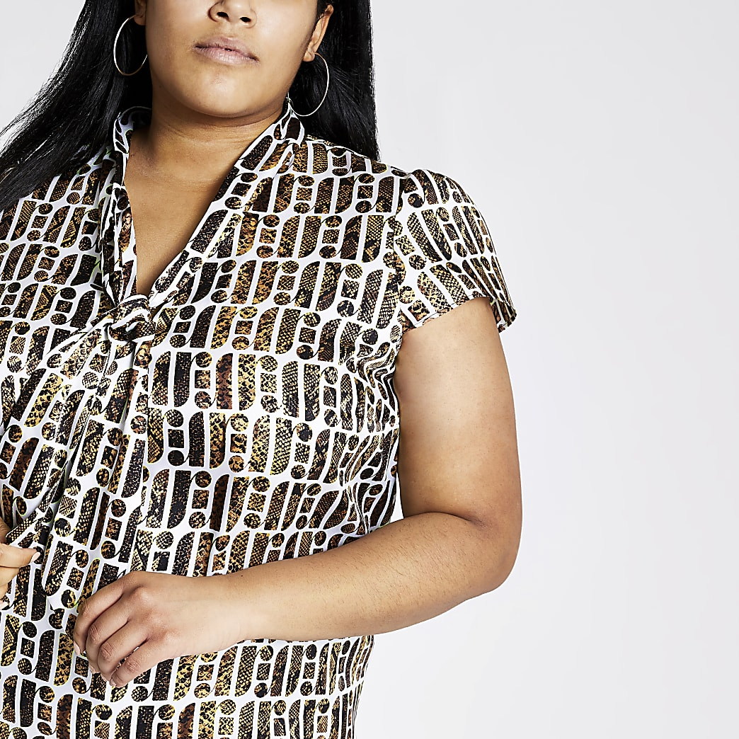 Plus brown RI print tie neck blouse