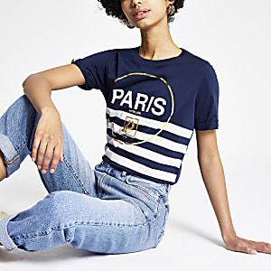 Marineblauw gestreept T-shirt met 'Paris'-print