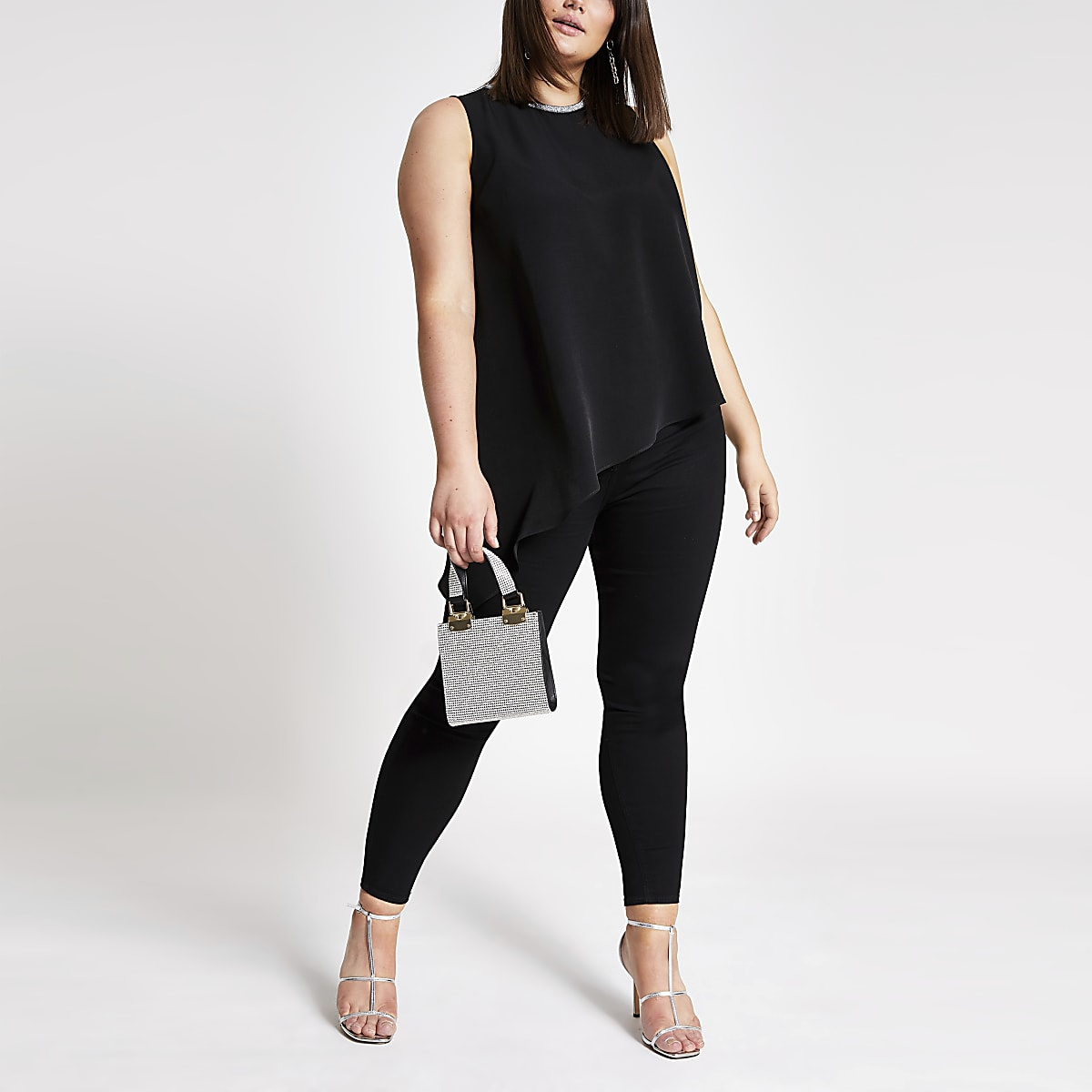 Plus black asymmetric tank top
