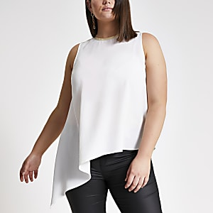 Plus white asymmetric tank top