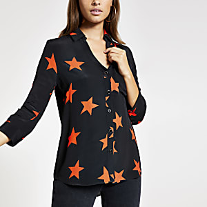 Black star print shirt