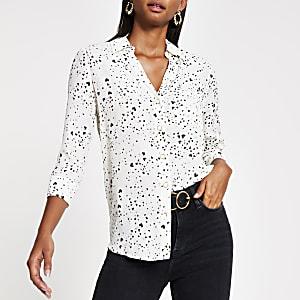 Crème overhemd met hartenprint