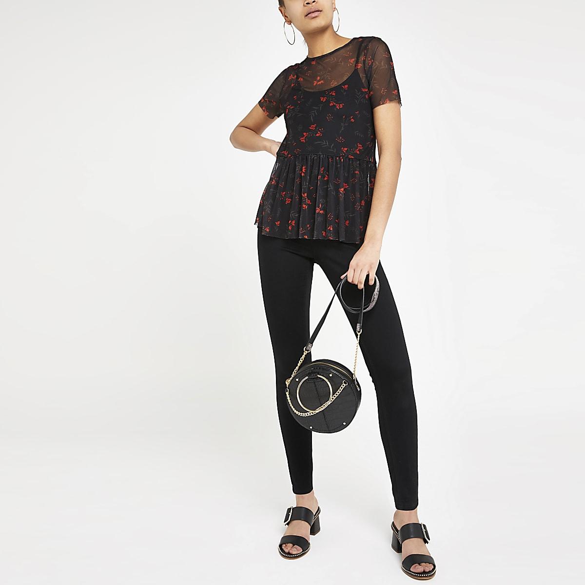Zwarte top met bloemenprint, mesh en peplum