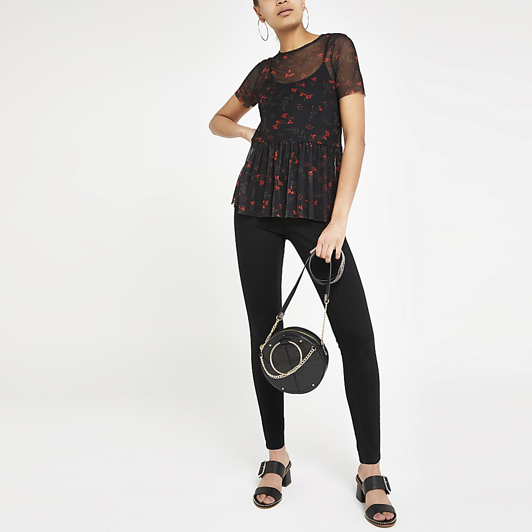 Black floral mesh peplum top