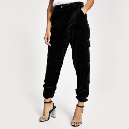 Black velvet ruched hem cargo trousers