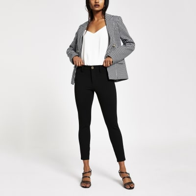 Petite Black Skinny Ponte Molly Trousers by River Island