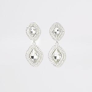 Silver colour diamante pave drop earrings