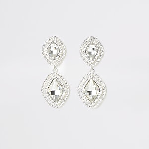 Silver color rhinestone pave drop earrings