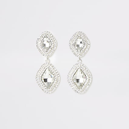 Silver colour diamante pave drop earrings