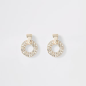 Rose gold rhinestone paved ring stud earrings