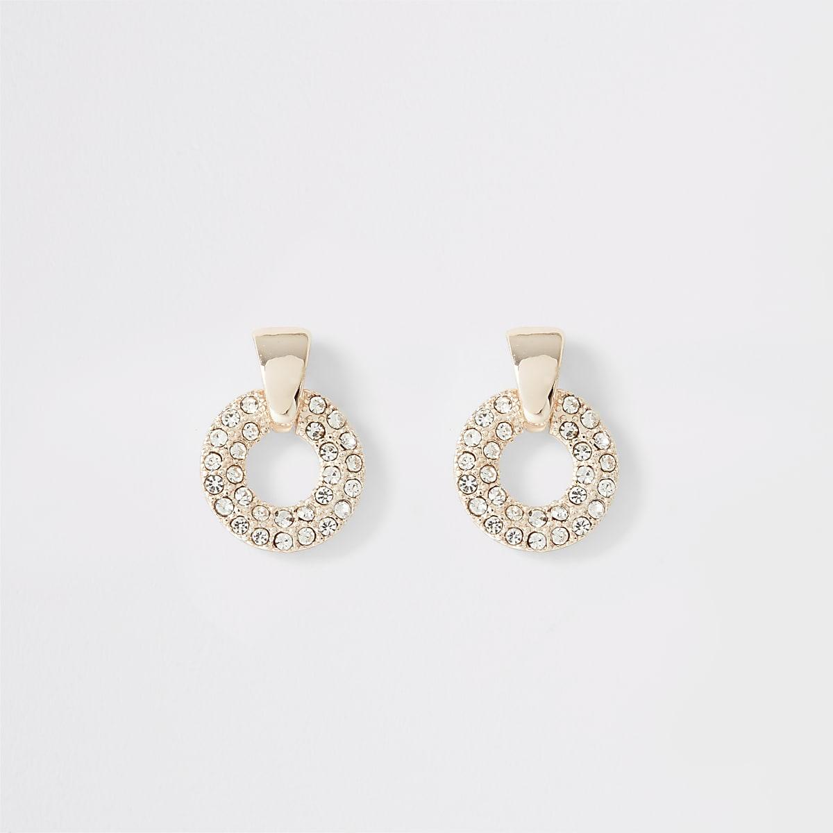 Rose gold rhinestone paved ring stud earrings
