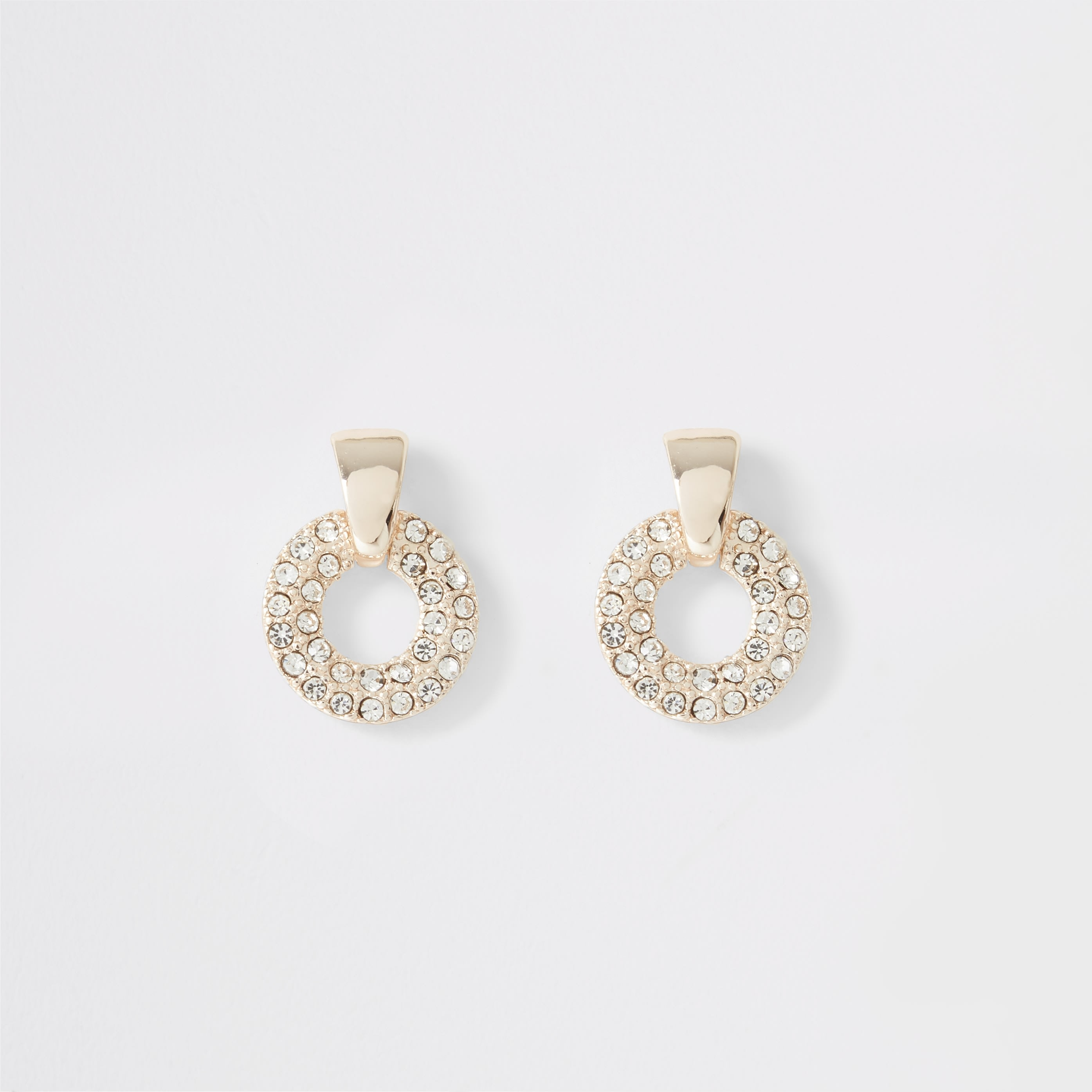 RIVER ISLAND | Womens Rose Gold Diamante Paved Ring Stud Earrings | Goxip