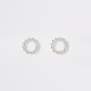Silver color open circle stud earrings