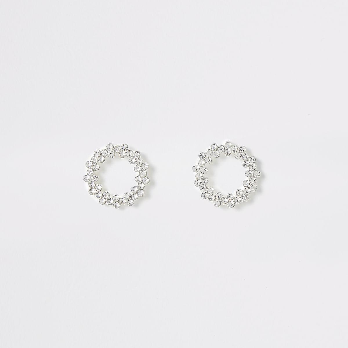 Zilverkleurige oorknopjes met open cirkel