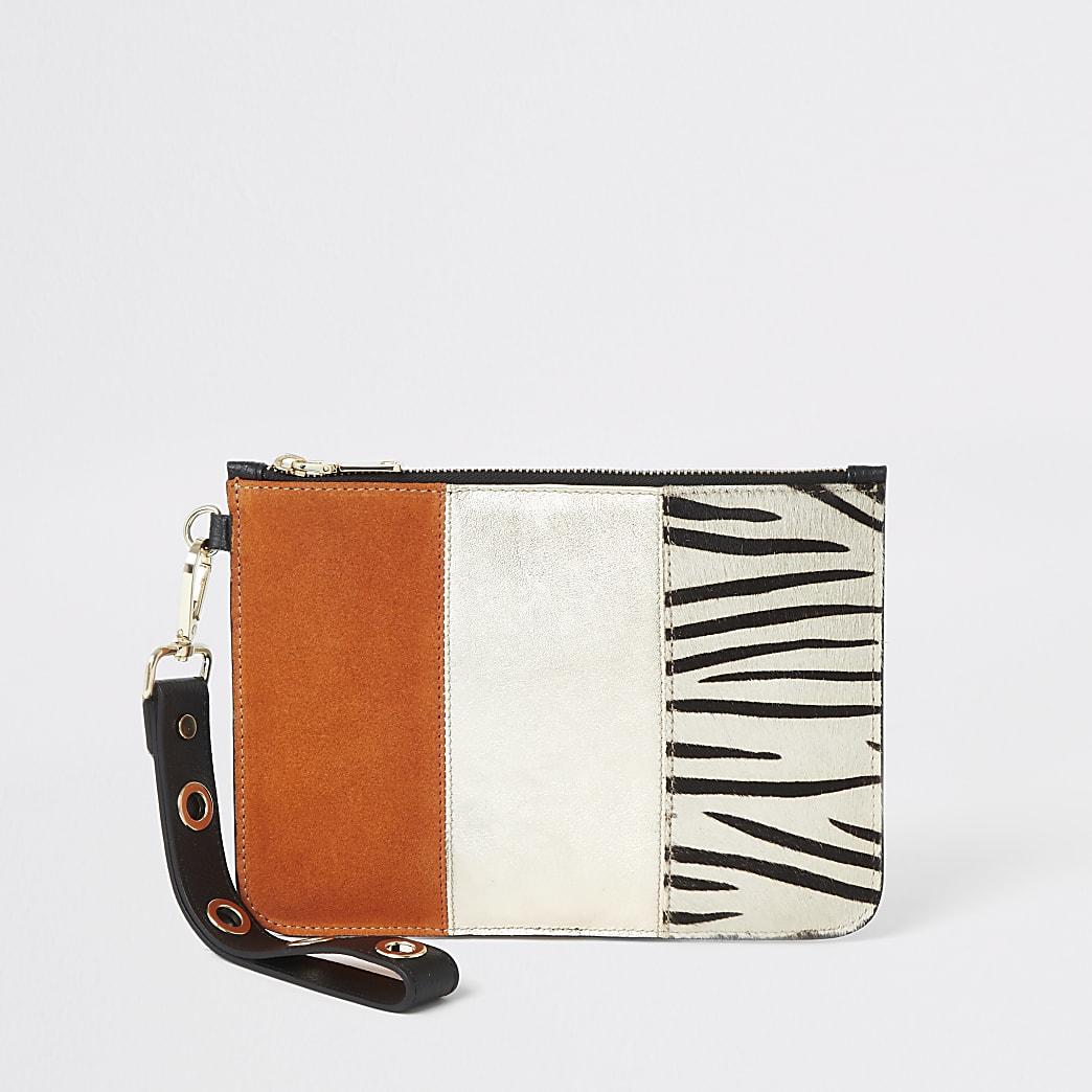 Orange zebra print leather pouch clutch bag