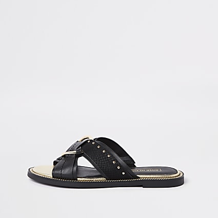 Black wide fit cross studded mule sandals