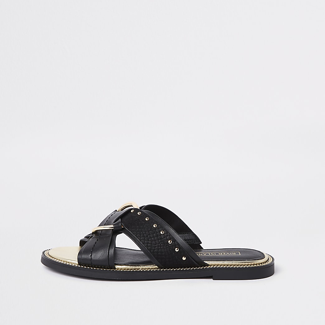 Black wide fit cross studded mule sandals