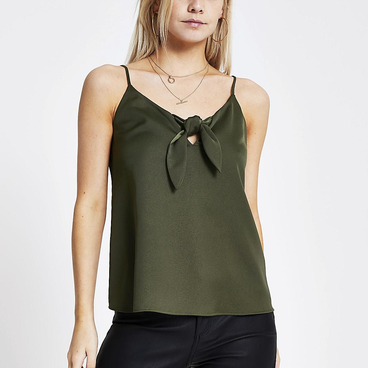 Petite khaki bow front cami top