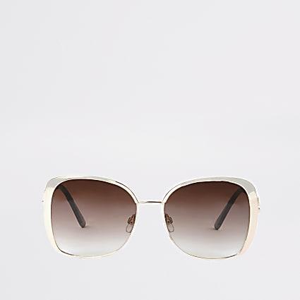 Rose gold colour pink lens sunglasses