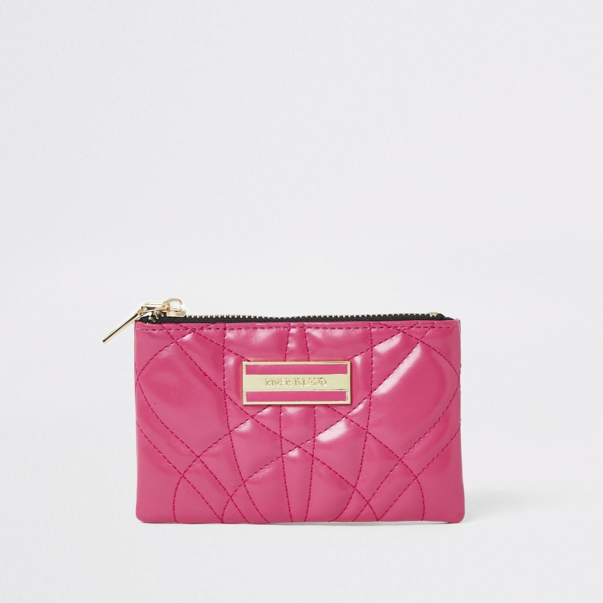 Roze kleine doorgestikte portemonnee