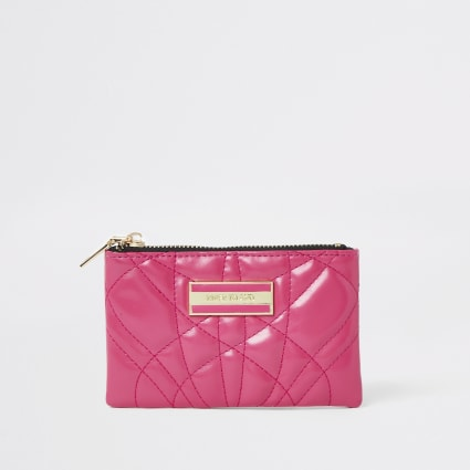 Pink quilted mini purse
