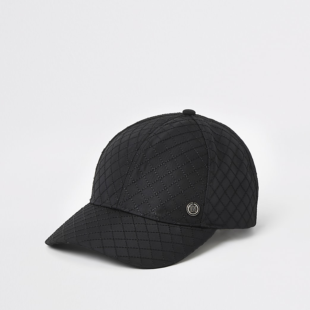 Black quilted cap