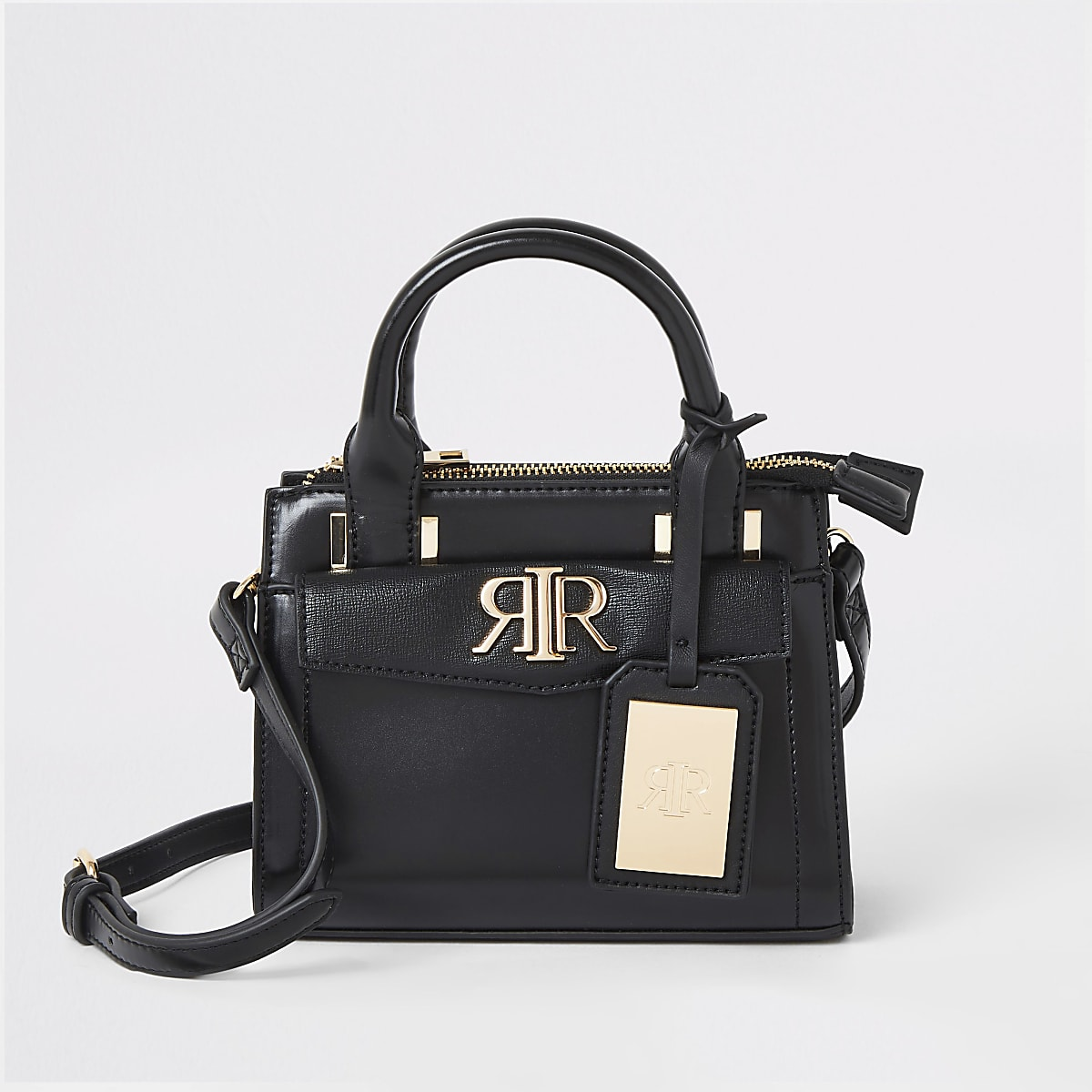 Black RI mini cross body tote bag