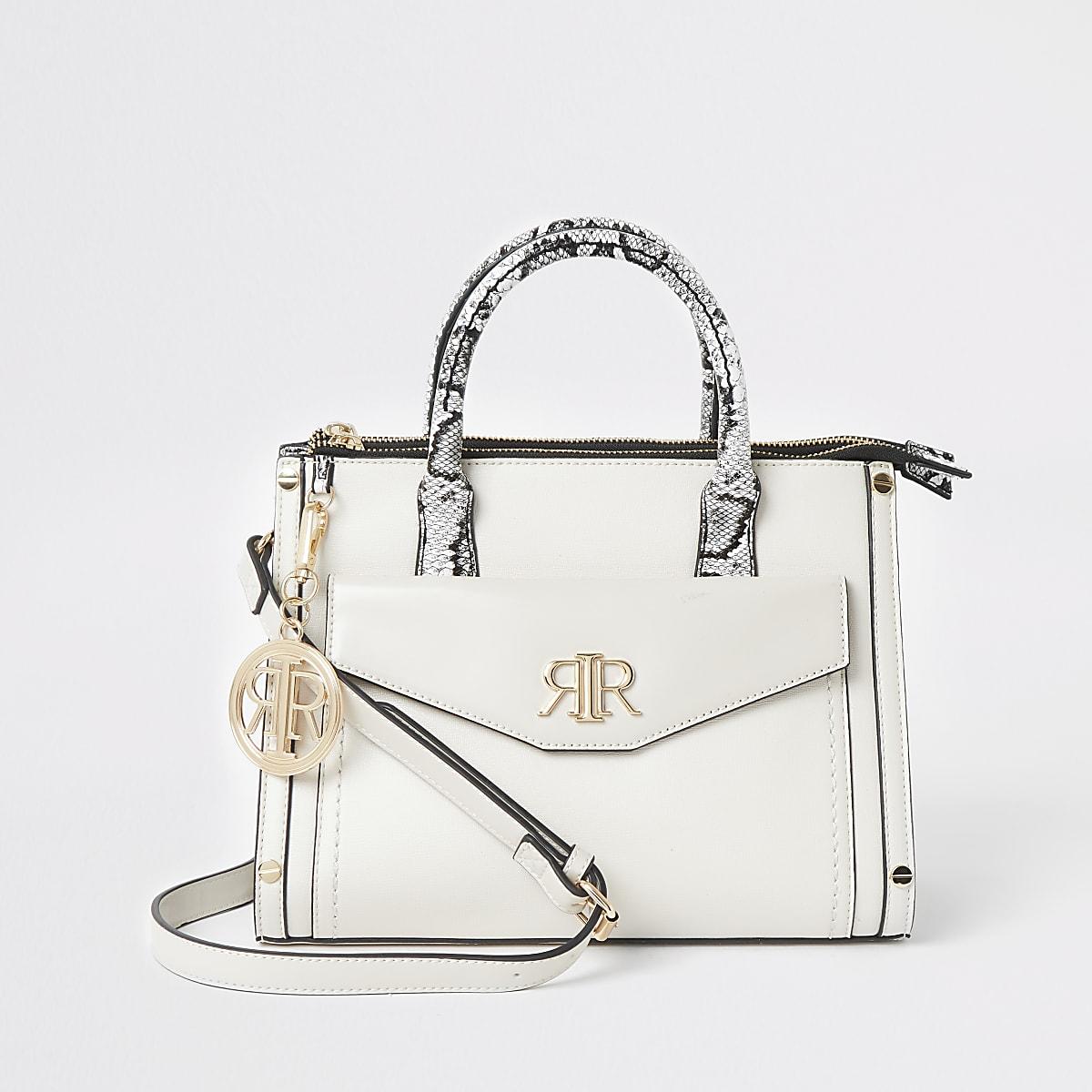 Cream pocket front tote bag