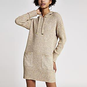 Robe camel à capuche en maille côteléeà manches longues