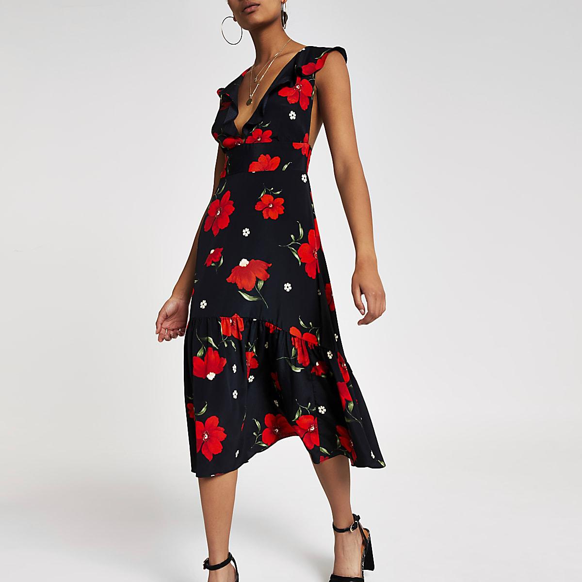Black floral print frill hem midi dress