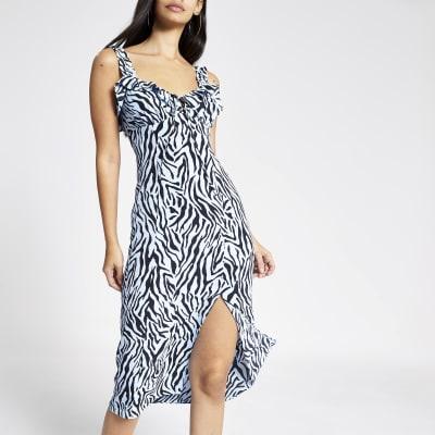 Blue zebra print midi dress
