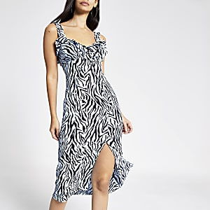 Blue zebra print midi dress