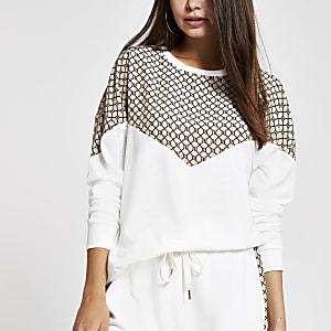 Crème sweatshirt met RI-logo en zigzagmotief