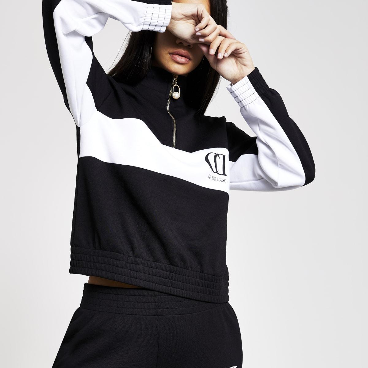 Zwart-wit sweatshirt met korte rits