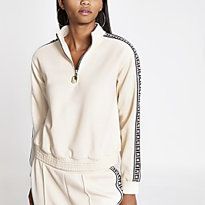 Cream RI trim half zip sweatshirt