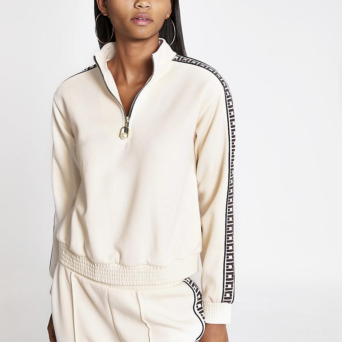Cream RI trim half zip sweatshirt