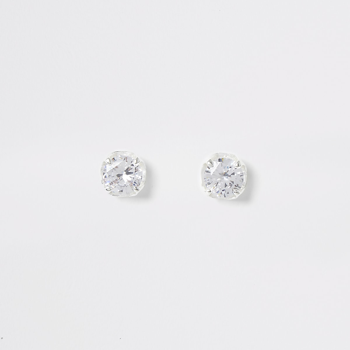 Silver colour cubic zirconia stud earrings