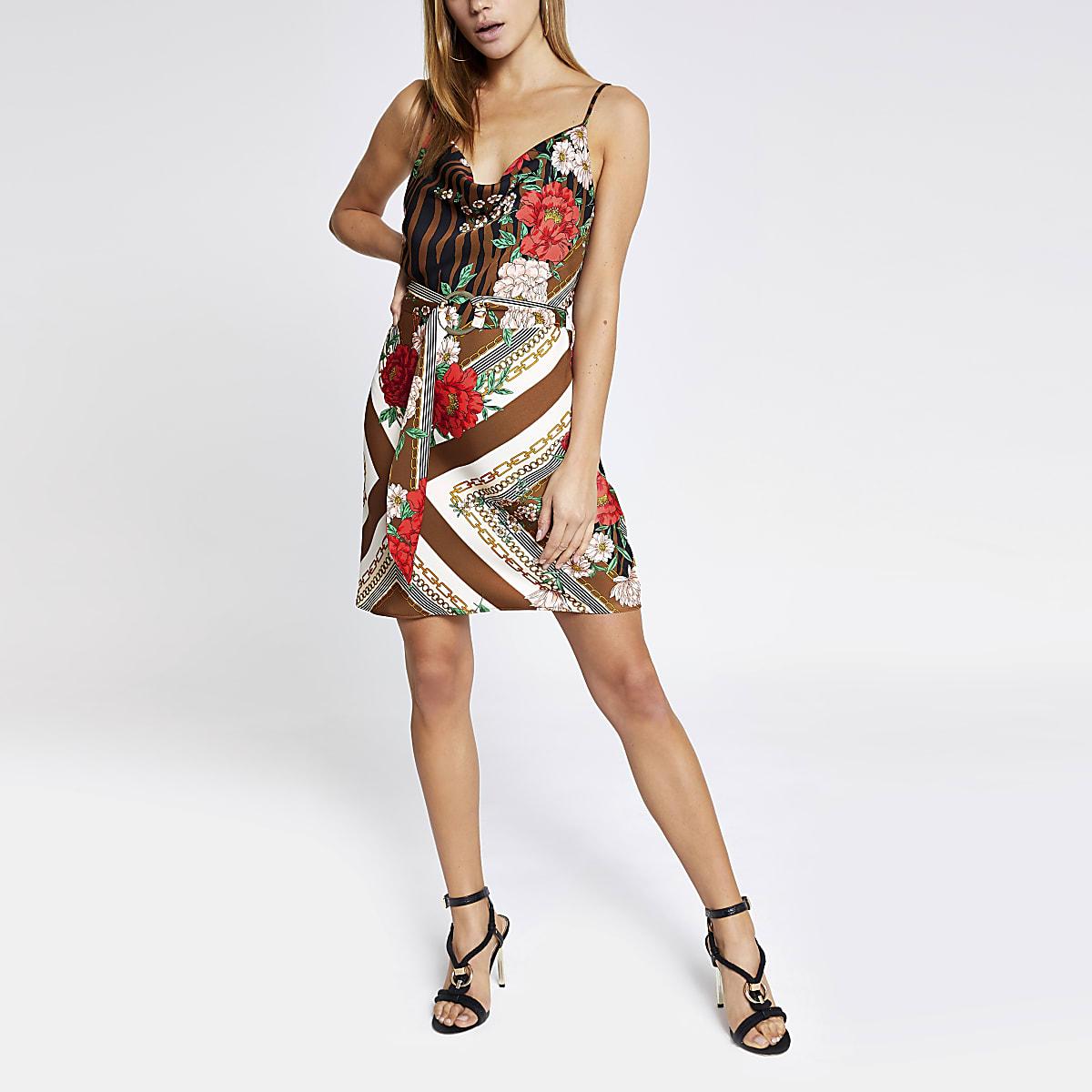 Brown printed cowl neck belted slip dress